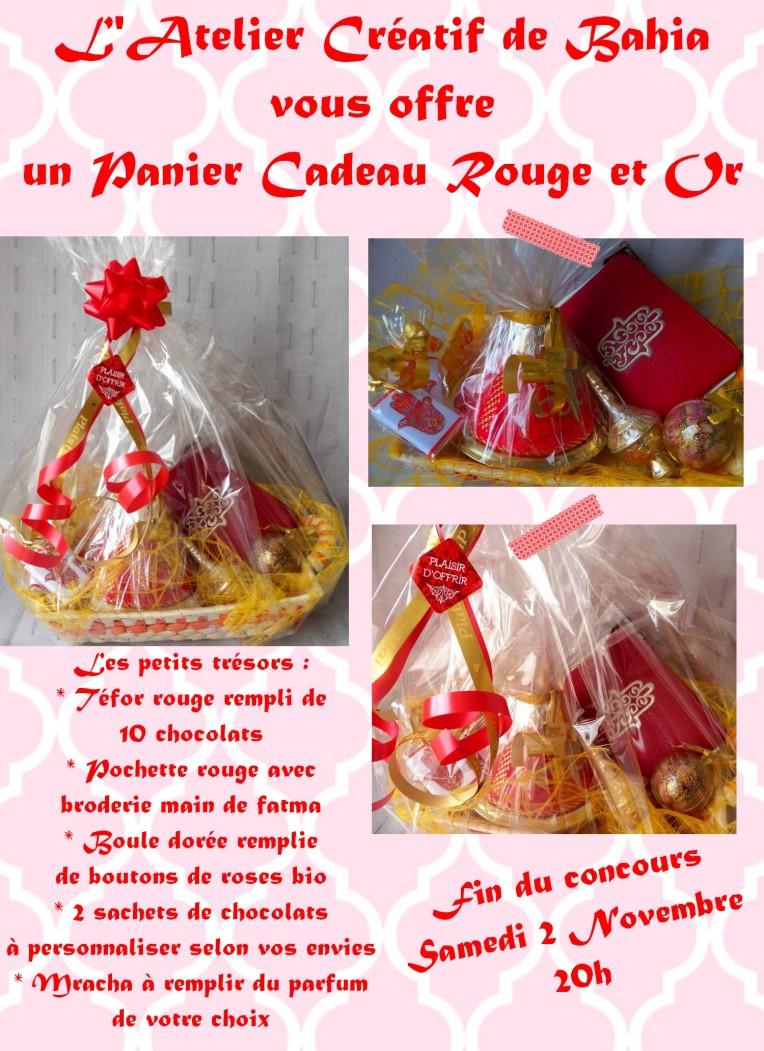 concours panier cadeau rouge et or